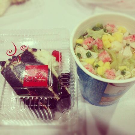Original japanese nissin cup seafood and a slice of red ribbon black forest to feed my happy soul :) Happygirl Happybelly