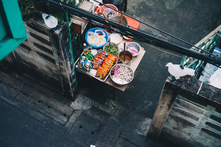 High Angle View Retail  Choice Variation Food Food And Drink For Sale Large Group Of Objects Container No People Freshness Still Life Small Business Day Multi Colored Business Market Market Stall Outdoors Sale