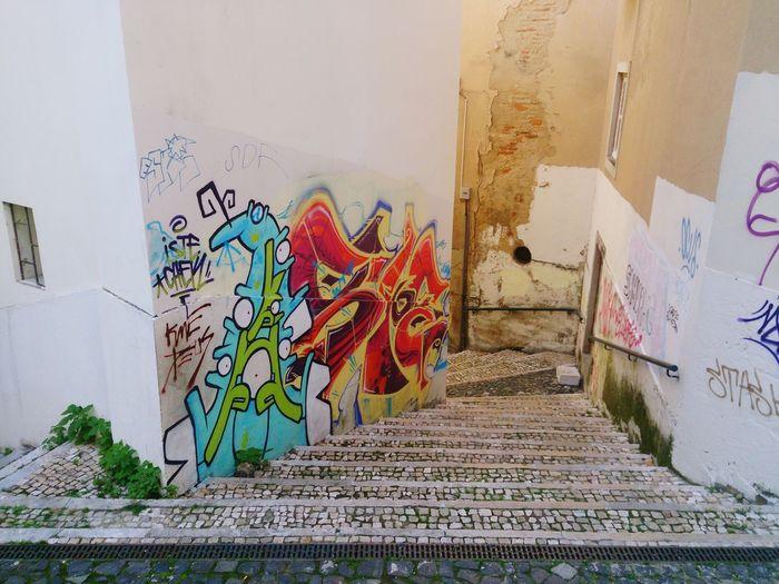 Graffiti Lisboa Lisbon Stairs No People