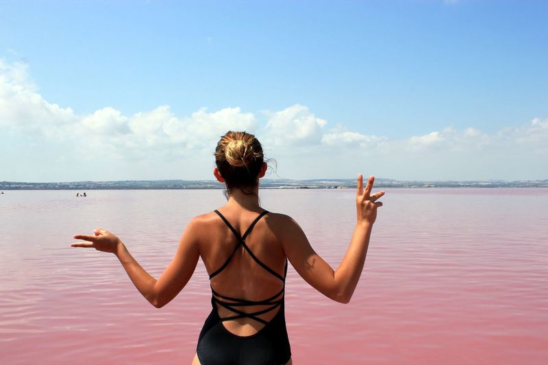 Pink Lake Nature EyeEm Selects Water Young Women Sea Women Standing Healthy Lifestyle Beach Back Summer Rear View