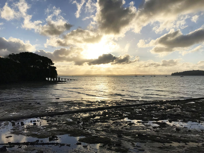 Beach Beauty In Nature Cloud - Sky Clouds Idyllic Nature No People Reflection Sunset Tide Out Tranquil Scene Tranquility Wharf
