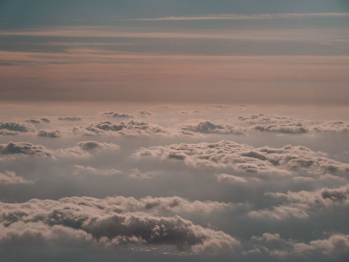 Above Aerial View Backgrounds Beauty In Nature Cloud - Sky Cloudscape Day Fluffy Heaven Idyllic Low Angle View Meteorology Nature No People Outdoors Scenics - Nature Sky Softness Sunset Tranquil Scene Tranquility