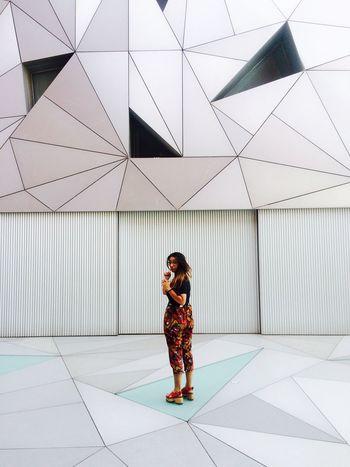 Portrait Girl Geometry Triangle Fashion