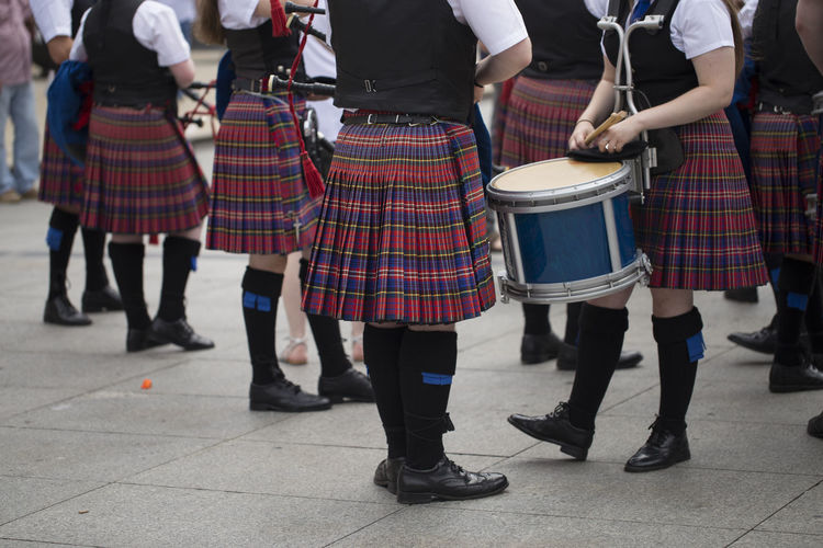Scottish traditional pipe band Asturias Drum Drummer Holiday Horizontal SPAIN Scottish Sunny Clothing Day Group Of People Kilt Music Musician Outdoors Performance Pipe Band Street Summer Traditional Clothing Uniform