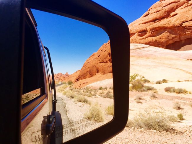 Reflection Transportation Mountain Nature Car Mode Of Transport Scenics Land Vehicle Beauty In Nature Mountain Range Rock - Object Day Non-urban Scene Clear Sky Side-view Mirror No People Travel Destinations Outdoors Tranquility Landscape Tranquil Scene NEVADA, USA!♡ Roadtrip Phone Photography The Great Outdoors - 2017 EyeEm Awards Lost In The Landscape