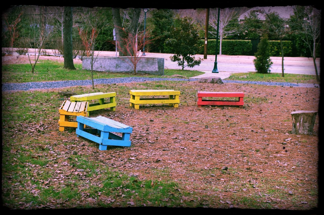 Small Benches At Park
