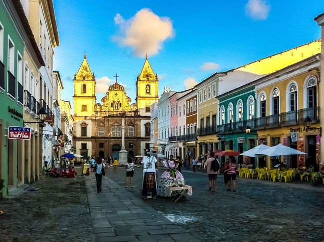 Church Architecture Blue Sky Building Exterior Built Structure Church City Outdoors Salvador Bahia Sky Square Travel Destinations Historical Place Sunset