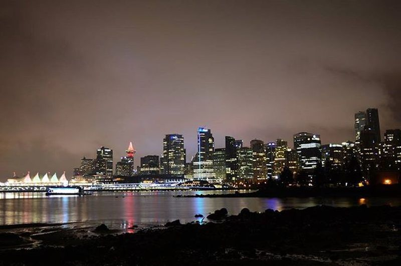 Vancouver Vancouverisawesome Vancitybuzz Vancouverofficial Night Lights Downtown from Stanleypark  Totempole Nightlife Lightsofbigcity Canadaplace Shangrila Trumptower CoalHarbour Nofilter Nofilterneeded Nikon Mynikonlife