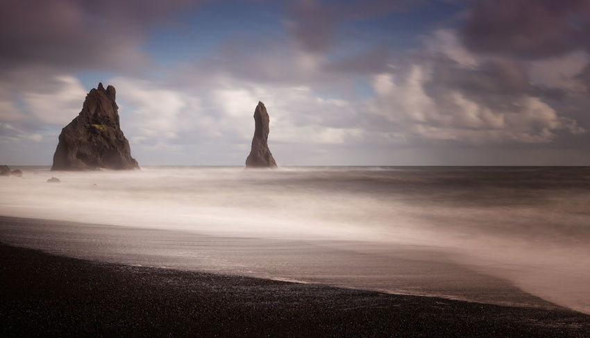 Black Sand in Vik - Iceland Iceland Iceland Memories Orange Beach Beauty In Nature Black Blacksand Cloud - Sky Day Horizon Over Water Iceland_collection Landscape Nature No People Outdoors Scenics Sea Sky Tranquil Scene Tranquility Vik Water