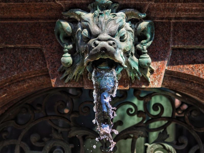 Brunnen Brunnenfigur Wasserspeier Representation Architecture Art And Craft Low Angle View Sculpture No People Animal Representation Statue Design Metal Decoration Pattern Craft Close-up Day Built Structure Creativity Outdoors Carving - Craft Product