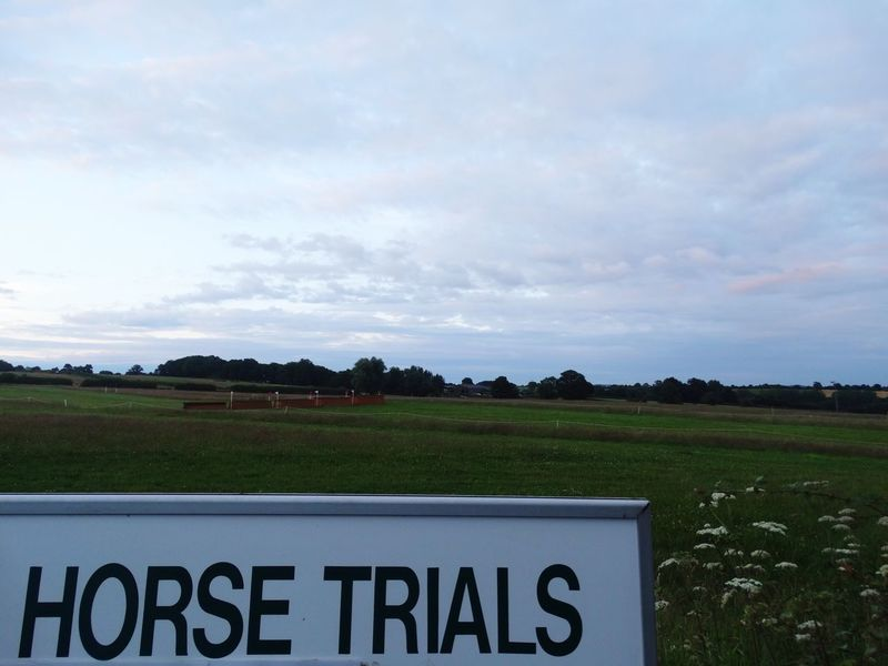Horse trials. Horse Horses Horse Riding Showjumping Sign Horse Trials Trials Show Event Sport Close-up Field Outdoors Grass Sky Clouds Countryside Country Life Text Fun Competition Nature