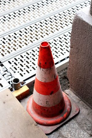 Day Red Outdoors Close-up No People Traffic Cone Construction Construction Site Building Lot Cone Pylon Barrier Absperrung Plastic Synthetic Grid Step Step Grid Road Works