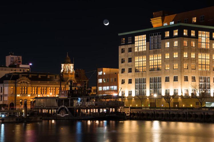 The port of Moji:No.01 pier boat port Harbor Night View Nightphotography Nightlights Architecture Sea Moon Mycity Fukuoka Japan Kitakyushu Stone Sony α7R Ss30 City Lights At Night EyeEm Best Shots