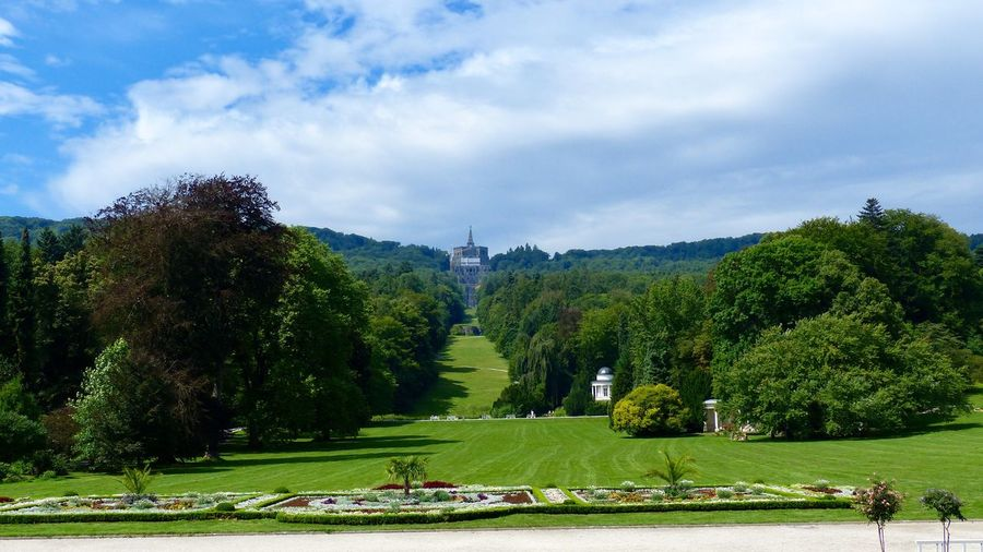 Schlosspark Wilhelmshöhe in Kassel, Germany Green Color Plant Tree Sky Cloud - Sky Grass Nature Day Scenics - Nature Beauty In Nature Tranquil Scene Tranquility Park Park - Man Made Space Growth Landscape