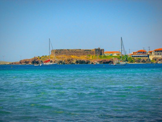 Old Castle Old Fortress Monument On A Boat Seeing The Sights Lesvos Island Greek Islands Boats Sailboats Seaside Village Houses Sea Seascape Fortress And Sea Fortress Castle Shades Of Blue Blue Sea Blues Summer Memories 🌄 The Great Outdoors - 2016 EyeEm Awards