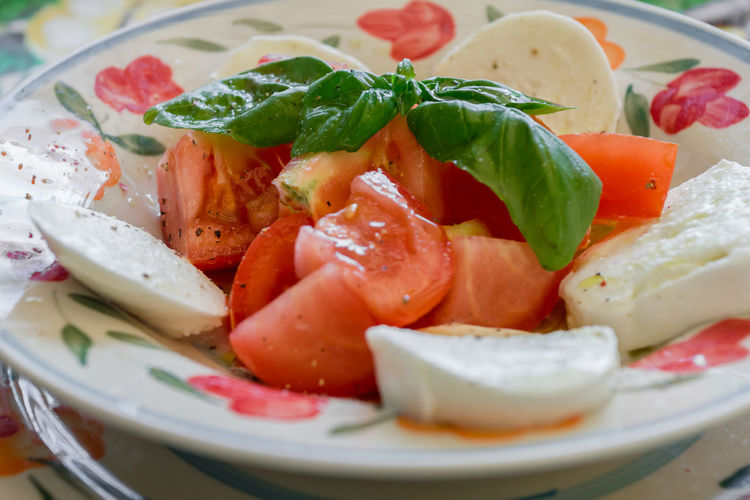 Close-up of caprese salad served in plate