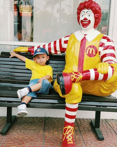 Son with Ronald. Hanging Out Mcdonalds Kid Relaxing Enjoying Life