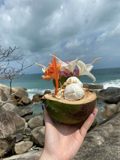 Cropped hand of woman holding coconut while standing against sea