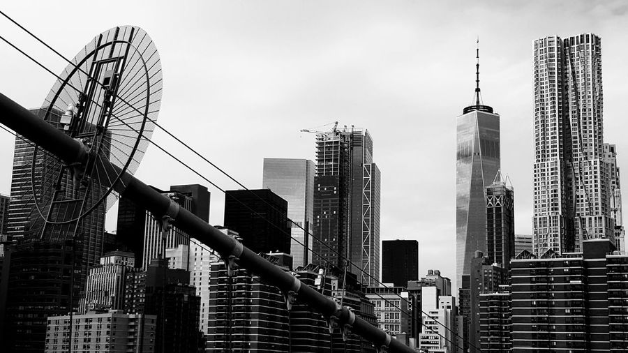 Foto taken from Brooklyn Bridge / New York 😚 NYC Skyscraper Architecture City Low Angle View Built Structure Urban Skyline Outdoors Day No People Travel Destinations Sky Modern Cityscape Building Exterior Thebigapple Manhattan Freedomtower World Trade Center