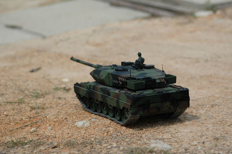 High angle view of toy armored tank on land