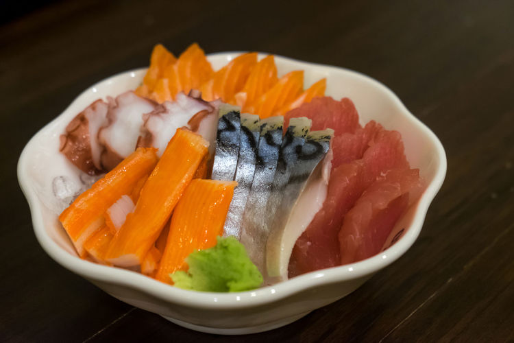 Close-up of sushi in plate on table