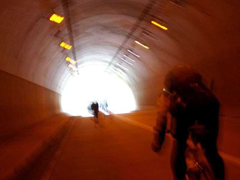 Roadbike Touring Bicycle Bike Blur Motion Men Real People Silhouette Tunnel Two People