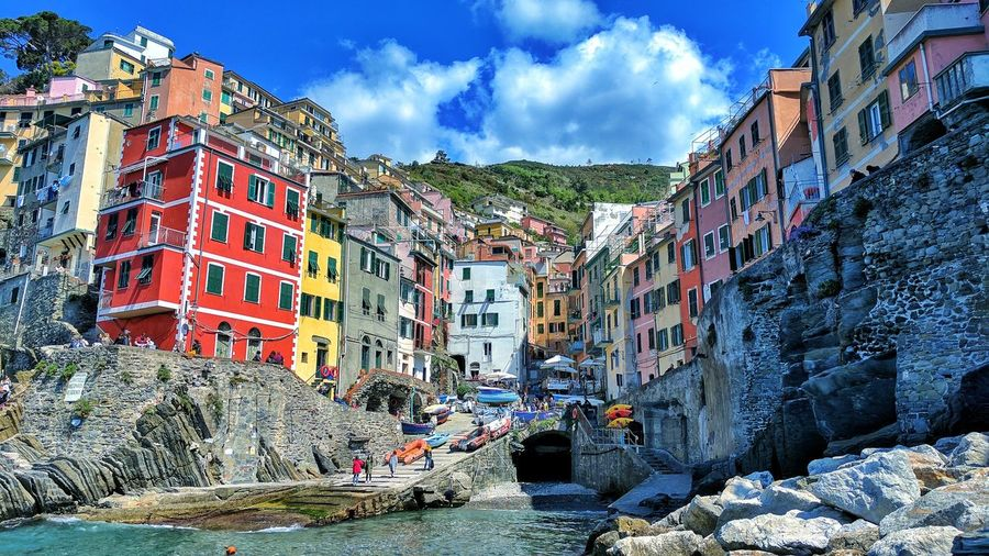 Architecture Building Exterior Sky Cloud - Sky House Built Structure Outdoors Day No People City Architecture Harbor Landscape Water Dock The Architect - 2017 EyeEm Awards Vacations Italy Italia Arhitecture Backgrounds EyeEm Best Shots Houses Riomaggiore Travel Destinations