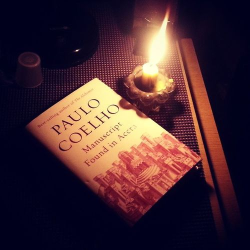 What to do when there's power outage? Read a book. Finally done with Manuscriptfoundinaccra by Paolocoelho BookQuotes