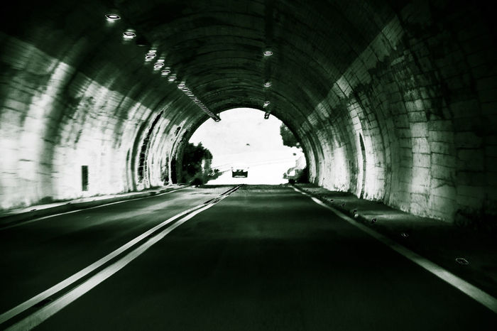 Arch Architecture Blackandwhite Blackandwhite Photography Built Structure Car Cars City Life Empty Road Light At The End Of The Tunnel Light At The End Of Tunnel On The Move Road The Way Forward Transportation Tunnel