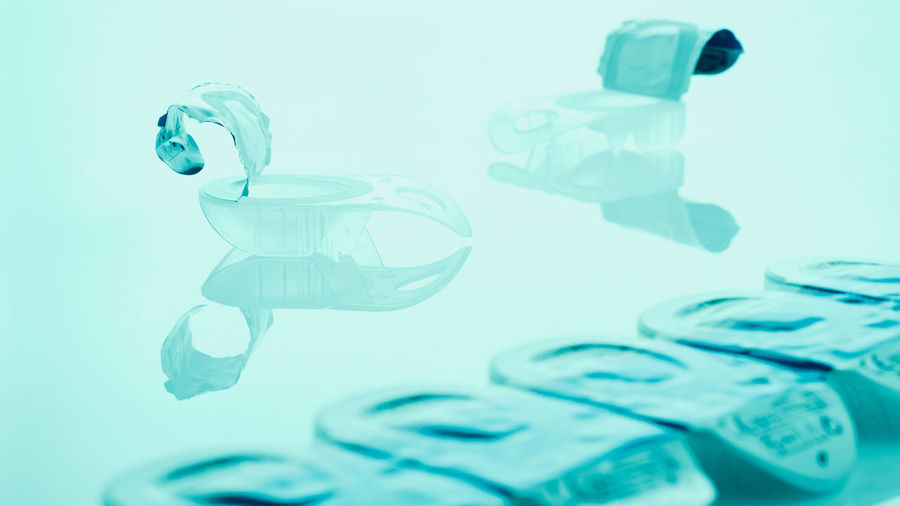 daily use contact lenses, filter effect, cool tone Care Daily Use Hygiene Reflection Soft Blue Close-up Contact Lens Container Eye Eyesight Focus Foil  Lens Medicare Open Optical Packaging Protection Still Life Studio Shot Tear Transparent Turquoise Colored Water