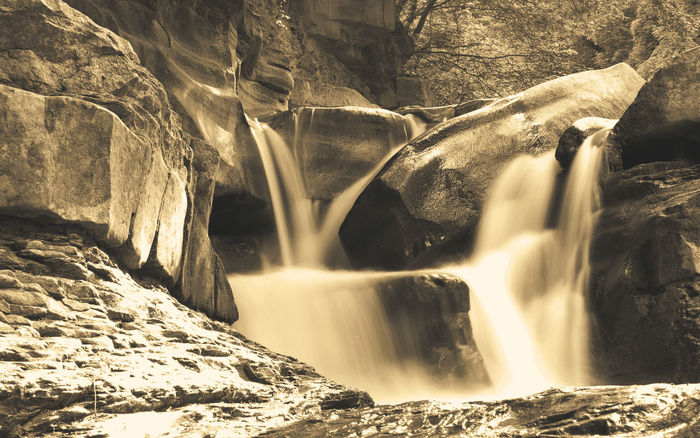 monochrome photography River Seppiaeffect Cascata Rocce Water Waterfall Power In Nature Motion Long Exposure Rock - Object Scenics