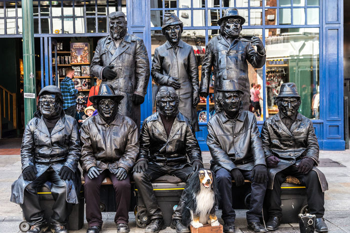 8 Men Art Art And Craft Buskers Busking City Creativity Day Dog Dublin Eight Men Frozen Grey History Human Representation Large Group Of Objects Metallic Outdoors Shop Statue Street Entertainment