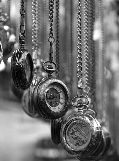 Detail shot of pocket watches