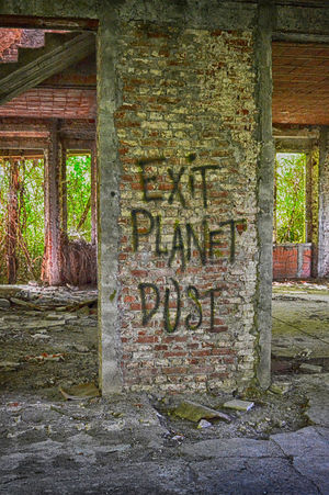 Exit Planet Dust Architecture Built Structure Day No People Text Architectural Column Outdoors Building Exterior Close-up