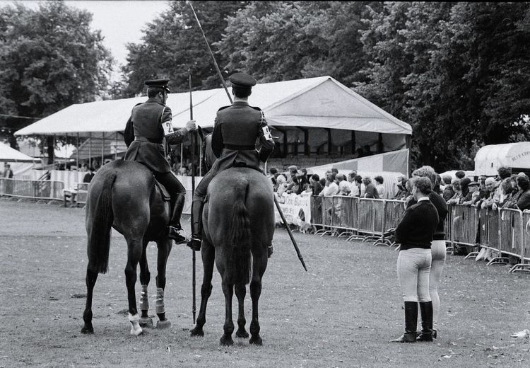 Domestic Animals Mammal Horse Real People Outdoors Tree Transportation Men Day Only Men Adult Adults Only People Abbey Park Leicester Uk Leicester 1980s Film Photography Black And White Vintage History Police Mounted Police Horseback Riding Army Cavalry