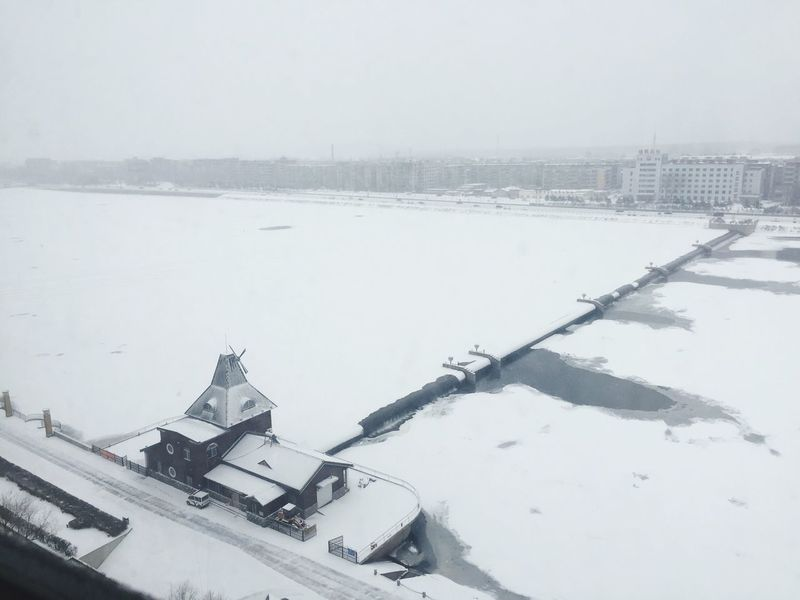 River Hometown Winter Snow High Angle View Cold Temperature City Shades Of Winter