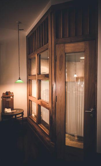 Closed door in illuminated building