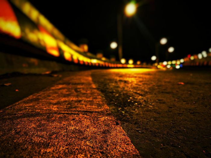 Night Illuminated No People Street Outdoors Bridge - Man Made Structure Road Transportation City Street Light Built Structure Architecture Sky Leisure Activity EyeEm Best Shots EyeEm Best Edits Defocused First Eyeem Photo Personal Perspective High Angle View Focus On Foreground Fragility Scenics Road To Nowhere Landscape
