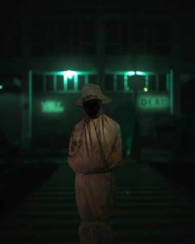 Rear view of woman standing against illuminated building at night