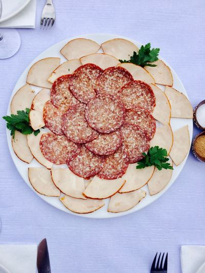 Food And Drink Plate Freshness Indoors  Directly Above Table Food Ready-to-eat No People Indulgence Serving Size Meat Food Styling Healthy Eating Flower Close-up Day Salami Filet Ham Sausage