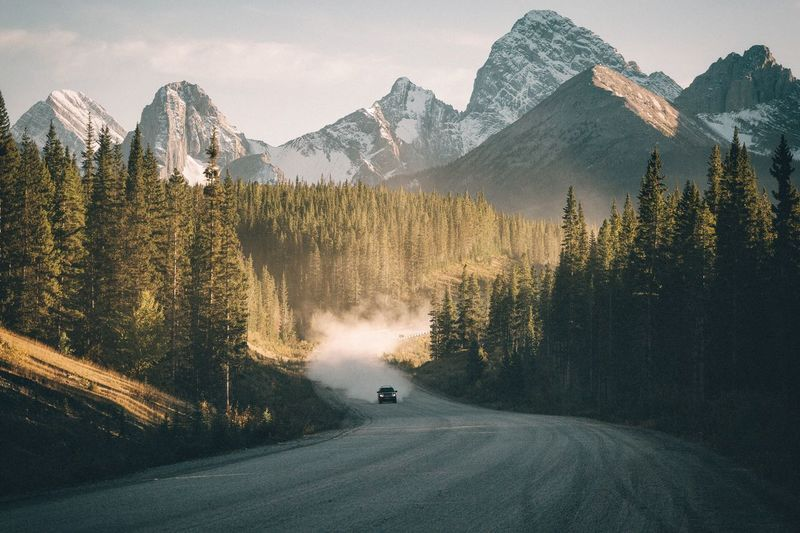 Mountain cruising Alberta Canada Travel VSCO Vscofilm Mountain Snow Nature Tree Mountain Range Beauty In Nature Landscape Transportation Scenics Winter No People Cold Temperature Outdoors Day Sky