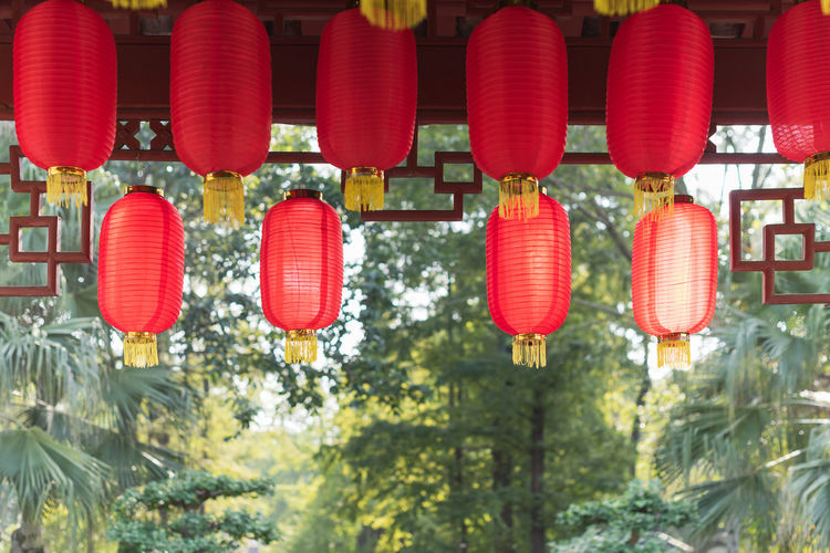 Low angle view of lanterns hanging