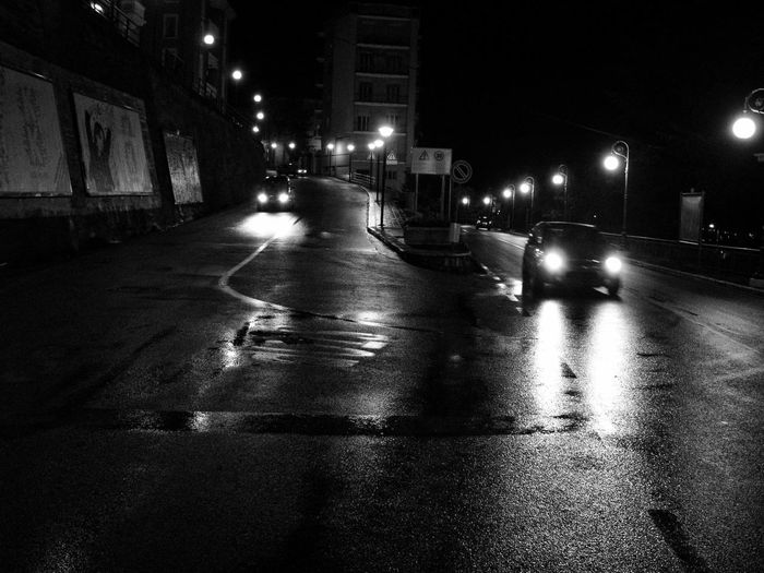 In the night Abstraction Asphalt Rain Black And White Photography Lifestyles Light In The Night Mood Night No People Rain Streetphotography Urban