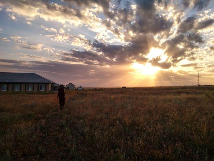 Протоптано #Джана Sunset Field Beauty In Nature Nature Sky Tranquil Scene Cloud - Sky First Eyeem Photo