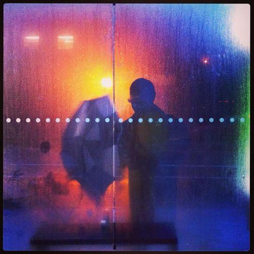 Man with an umbrella Colors Geometry Light Man Rain Reflection Silhouette Umbrella