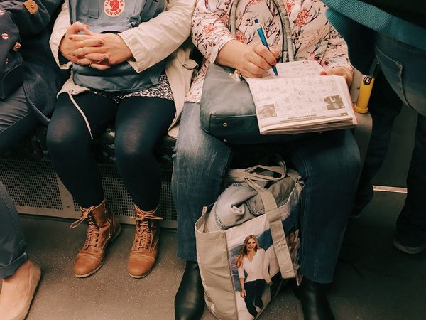 Sitting Casual Clothing Indoors  Women Low Section Real People Day Adult People Adults Only Underground Riddle