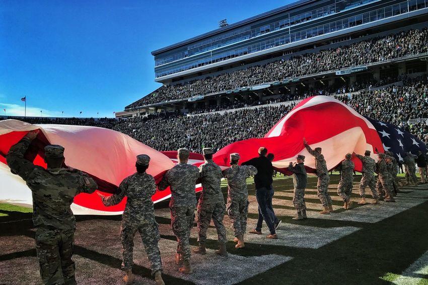 National Anthem Flag Michigan State University Spartans  Football