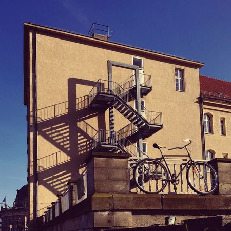 Architecture Berlin Photography Shadowplay Shadows & Lights Stairs Abstract Architecture Berliner Ansichten Berlinstagram Bicycle Bike Building Exterior Built Structure City Clear Sky Day Fire Escape Low Angle View Minimal No People Outdoors Railing Sky Staircase Stairways