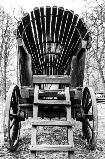 Blackandwhite Built Structure Day Land Vehicle No People Outdoors Playground Schloss Dankern Stationary Transportation Wagon  Wheels Wood