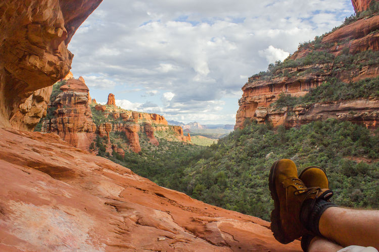 Adult Arizona AZ Beauty In Nature Boot Canyon Cloud - Sky Day Eco Tourism Fay Canyon Hiking Human Body Part Human Leg Landscape Low Section Nature One Person Outdoors Rock - Object Sedona Sky Tourism Travel Travel Destinations Vacations